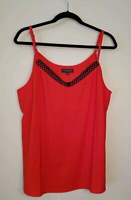 NWOT The Limited Womens Sleeveless Top/Shell/Cami Size XL (16) Red w/Black Trim