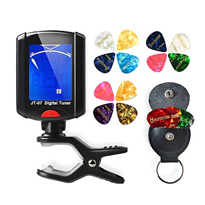 HusDow Guitar Tuners with Plectrums, Digital Tuner Clip on Tuers with 16 Pcs and