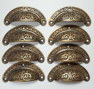 """8 Antique vtg. Style Victorian Brass Apothecary Bin Pulls Handles 3-7/16""""w.  #A5"""