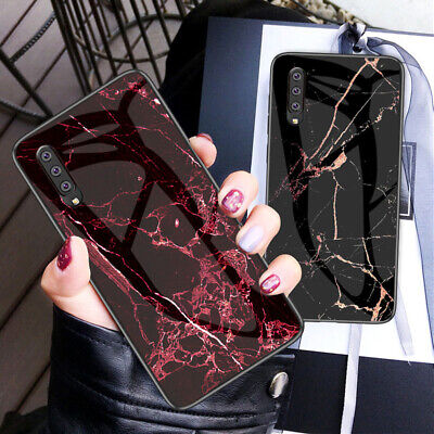 For Samsung Galaxy A70 A50 A20E A10 Marble Tempered Glass Hybrid Hard Case Cover