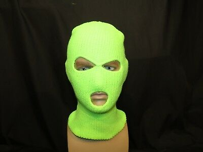 3 Hole Ski Mask. Neon Lime Green . UK STOCK. FREE SHIPPING