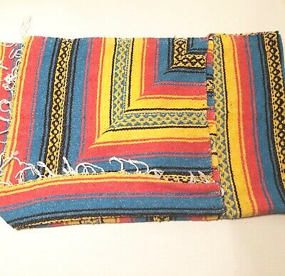 Authentic Mexican Rasta Falsa Blanket Serape Red Yellow blue colors large 52x69