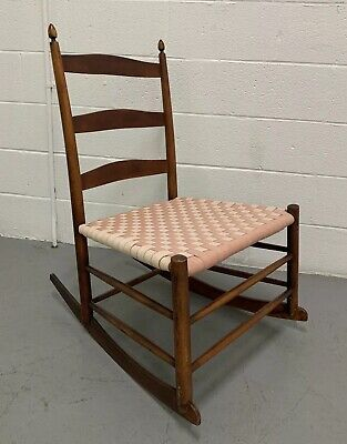 19th Century Antique Shaker Rocker No 4 Ladder Back Rocking Chair Mount Lebanon