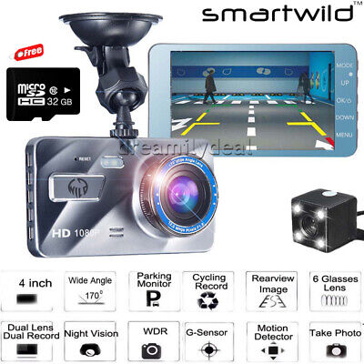 "1080P HD Dash Cam Wide Angle Night Vision Car DVR 4"" Dual Camera G Sensor w/32GB"