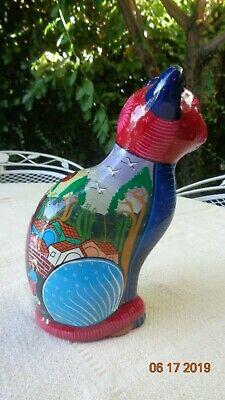 Mexico Mexican Folk Art Wedding Ceremony Red Clay Pottery Cat Colorful Figurine