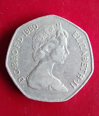 1980 50p fifty pence old large style Elizabeth II Britannia coin (ref037)