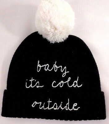 ed766cac4a86 NWT Kate Spade New York Baby It's Cold Outside Pom Pom Beanie Hat Black  Cream