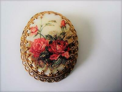 Vintage Oval Cameo Style Sugared Glass Pin Brooch Roses Flowers Germany