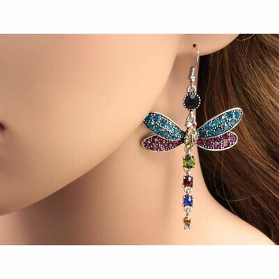 Gorgeous Dragonfly Crystal Rhinestone Earrings Silver Plated Ear Hook Dangle HOT