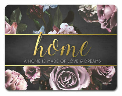 Placemats Home Love Dream Flower Glossy Scuff Resistant Placemat Dining *Set/6*