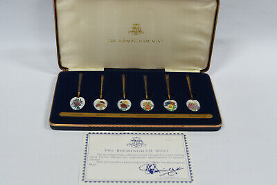 The Birmingham Mint 22ct Gold on Sterling Silver Enamel Flower Spoon Collection