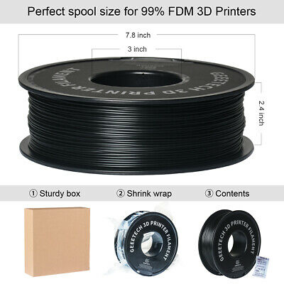 1.75mm PLA Filament Geeetech Black/Red/White/Blue/Purple/Green 3D Printer shipUK