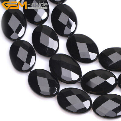 """Faceted Natural Oval Black Agate Beads For Jewelry Making Strand 15"""" Wholesale"""