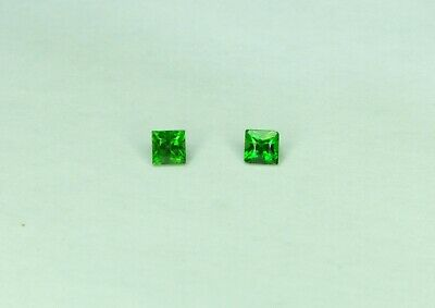 0.35cts Pair of Chrome Diopside loose gemstone, nice green. 3mm, slight flaw. 01