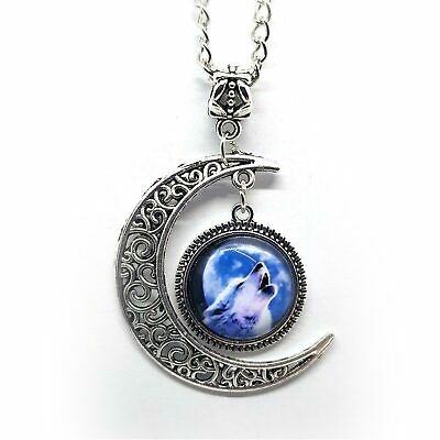 """Howling Wolf Pendant Glass Picture with Crescent Moon 18.5"""" Chain"""