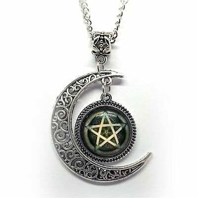 "Pentagram 5 Point Star Pendant Glass Picture with Crescent Moon 18.5"" Chain"