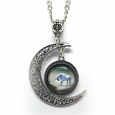 "Unicorn Pendant Glass Picture with Crescent Moon 18.5"" Chain"