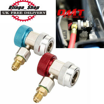 2X Auto Car Air Con Connector For Manifold Gauge Adapter Coupler R134A Lo/Hi Set