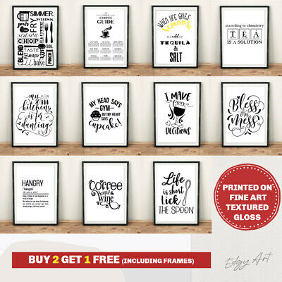 FINE ART QUALITY Kitchen Prints Wall Art Poster. Quotes Funny Home Room Picture