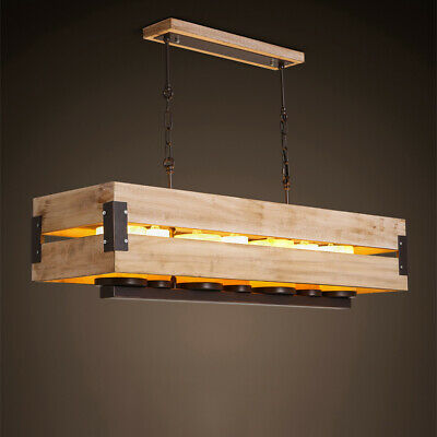 Country Rectangular Raw Wood Marble Shade Large Pendant Light Lamp Fixture 110V