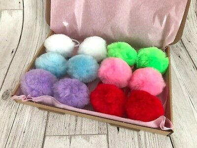 Box x6 pairs Large 50mm fluffy acrylic pompom elastic/hair tie/bobbles