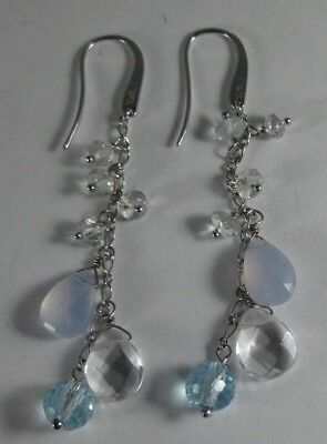 6c0b0f1f EMPORIO ARMANI STERLING Silver Dangling Drop Earrings Grey Mother of ...