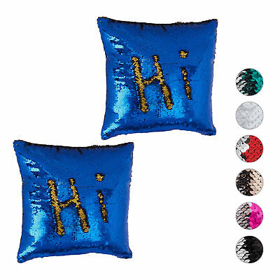 2 x Sequined Pillowcase, Decorative Cushion Cover 40 x 40 cm, Dark Blue-Gold