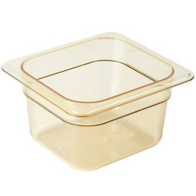 "Cambro 64HP150 H-Pan 4"" Deep Amber High Heat Hot Food Pan 1/6 Size (6 per case)"