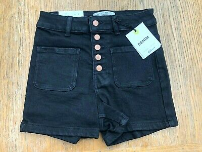 Girls Ex NEW LOOK 915 High Waisted Black Stretch Denim Shorts Ages 11-15 *NEW*
