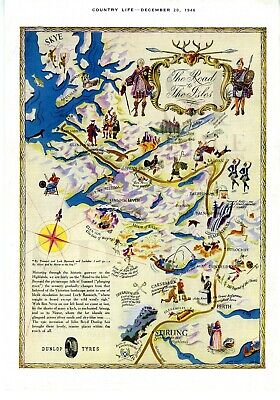 1946 Vintage Map Scotland THE ROAD TO THE ISLES Pictorial Plan COUNTRY LIFE Vint
