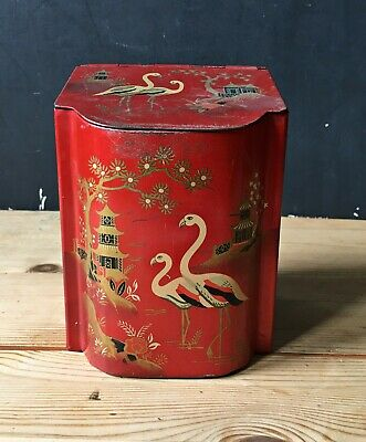 VTG Retro Red Chinese Tea Tin Caddy Canister Biscuits Kitchen Storage Sweets