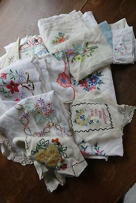 Huge bundle of 40 items of vintage linen with coloured hand embroidery.