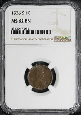1926-S Lincoln Wheat Cent NGC MS-62 BN -157066