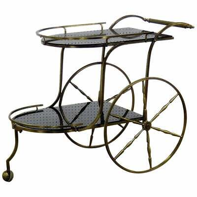 Hollywood Regency Glam Brass & Patinated Antique Mirror Tea Cart Bar Trolley