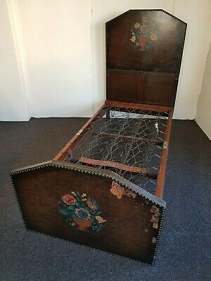 Antique Vintage Staples & Co. Leather & Oak Single Bed (Delivery Available)