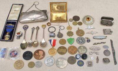 Collection of Items /Silver / Medals / Brooches / Spoons 2 x Silver Coin Holders