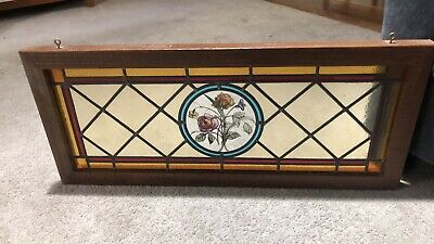 ANTIQUE LEADED STAINED GLASS WINDOW with ORIGINAL WOOD FRAME 34 By 14.5 Inch