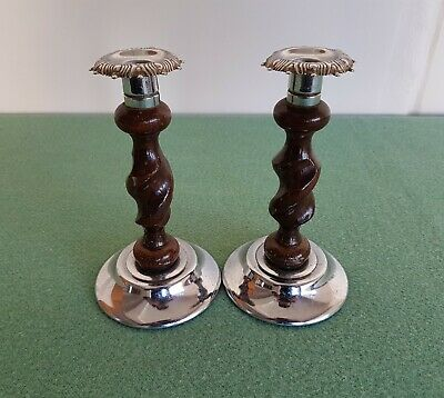 Antique Vintage Art Deco Pair of Oak and Chrome Barley Twist Candlesticks