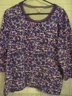Womens Size L Laura Ashley 3/4 Sleeve Crew Lace neck knit  Pullover Top Purple