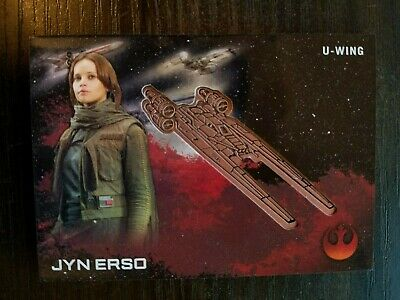2016 Star Wars Rogue One Series One Medallions Bronze #16 Jyn Erso with U-Wing