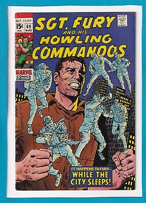 """Sgt. Fury & His Howling Commandos #69_August 1969_Fine_""""While The City Sleeps""""!"""