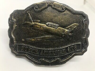 Vintage North American AT6 Belt Buckle 1976 Brass Airplane Aviation Collector