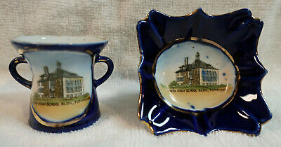 Lot of Two Vintage Tomah Wisconsin Souvenir Vase & Saucer w/High School Picture