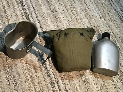 WW 2 US Army USMC Soldiers 1945 Stainless Steel Canteen,1944 Dated Cup & Case