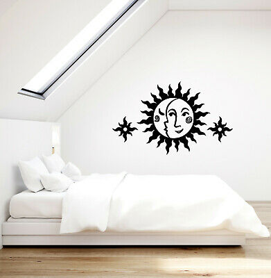Vinyl Wall Decal Sun And Moon Face Ornament Children's Room Stickers (3768ig)