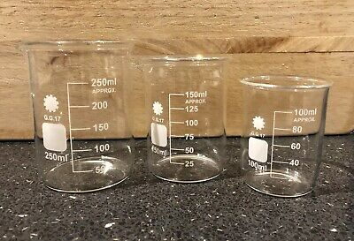 Various Beakers Labware Glassware - 100ml 150ml 250ml - 41 Beakers - Bargain