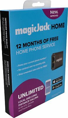 magicJack - HOME VoIP Telephone Adapter with 12 Months of Service - Black