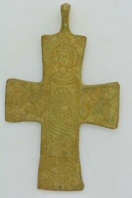 Byzantine bronze cross Virgin Mary and unborn baby Jesus 10th century AD