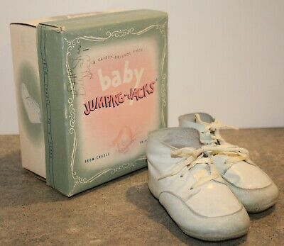 Vintage Pair Leather Baby Shoes Red Goose In Jumping Jacks Box Size 1