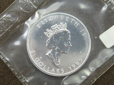 1995 1 oz Silver Maple Leaf Coin $5 Canada Canadian Coin Mylar Pouch Sealed